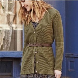Cabi Aerial Olive Ribbed Long Cardigan Sweater